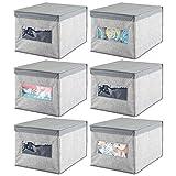 mDesign Juego de 6 cajas de tela - Cajas con tapa de polipropileno transpirable - Caja organizadora ideal como organizador de armarios - Caja para guardar ropa o accesorios de bebé - gris