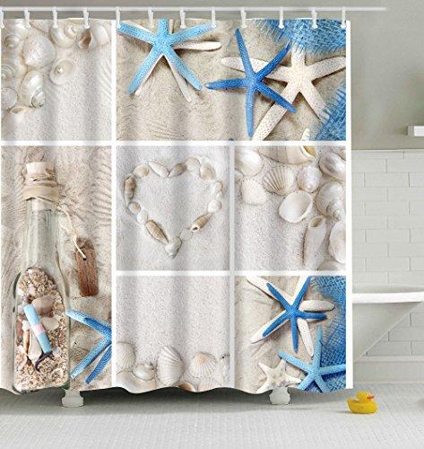 Badezimmer Duschvorhang, Top Qualität Anti-Schimmel Duschvorhänge Digitaldruck inkl. 12 Duschvorhangringe, 180x200cm (Drift Flaschen & Shells & Seestern) Top-flasche