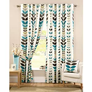 "Zest Modern Retro Solid Printed Leaf Pattern Readymade Lined Pencil Pleat Curtains, Cream / Teal - 66"" x 90"""