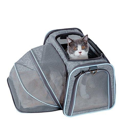 Petsfit Komfort Erweiterbarer Haustiertragetasche für Hunde und Katzen, Blau, Weiche Seiten, 45cm x 28cm x28cm (Mittel)