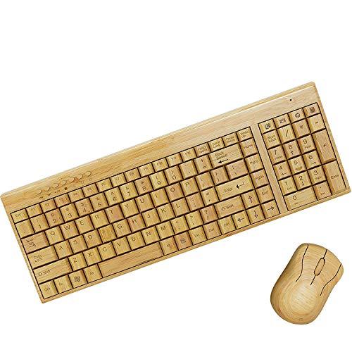 Tastatur + Maus Set Keyboard Wireless Bambus Holztastatur handgefertigt aus Holz kabellos Funk (Touchpad Wireless Bamboo)