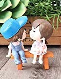 Chocozone Kissing Couple on Bench Resin Showpiece Couple Miniatures Romantic Gifts for Boyfriend