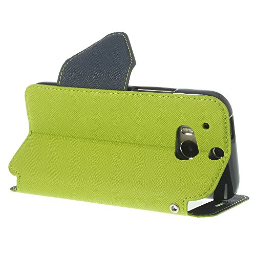 Handy Schutz in Perfektion | Ultra Slim Premium Handy Flip Case Cover Klapp Leder Tasche Schutz Hülle Etui Bumper mit Fenster aus hochwertigem Kunstleder mit Silikon Innen Schale Original Roar Fancy C Grün