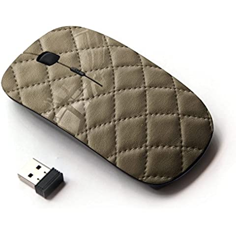 KawaiiMouse [ Mouse Senza Fili Ottico 2.4G ] Leather Cracker Cookie Stitching Diamond Pattern - Crackers Cookie