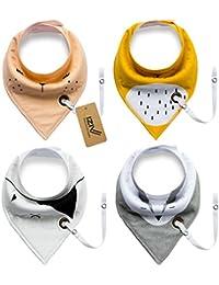 iZiv Baberos del Bebé - Paquete de 4 Diseños Pañuelo con Snaps Ajustables Clip de Chupete , TPU Impermeable Guarnición para niño 0-2 años