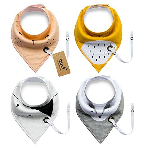 iZiv Baberos del Bebé - Paquete de 4 Diseños Pañuelo con Snaps Ajustables Clip de Chupete , TPU Impermeable Guarnición para niño 0-2 años (Color-2)