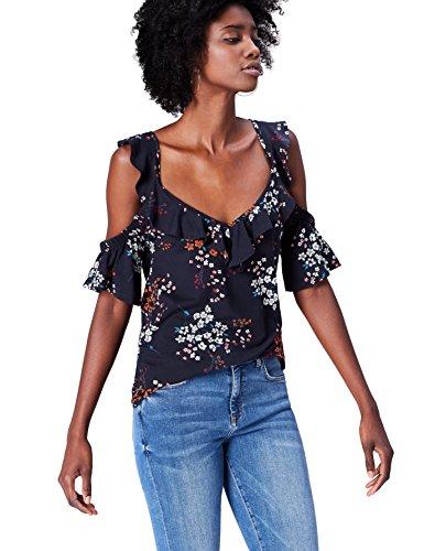 FIND Blusa con Hombros Al Aire Para Mujer, Multicolor (Navy Mix), 44 (Talla del Fabricante: X-Large)