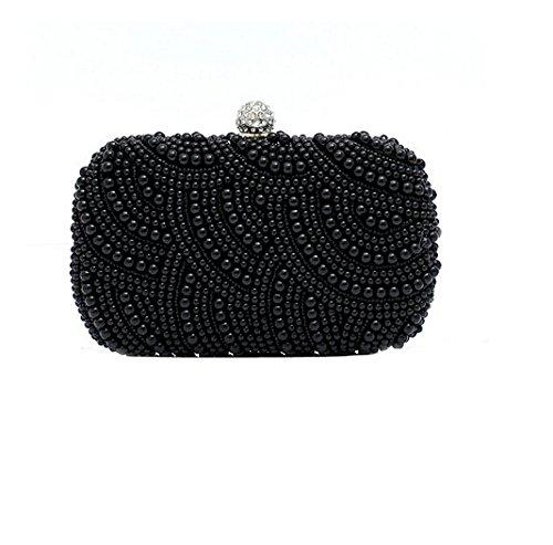 Elegant Wedding Bridal Evening Clutch Handbag Black Full Pearl Beaded Rhinestone Handheld Bag