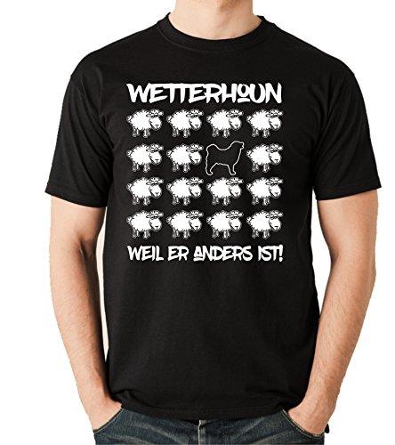 Siviwonder Unisex T-Shirt BLACK SHEEP - WETTERHOUN Wasserhund - Hunde Fun Schaf Schwarz