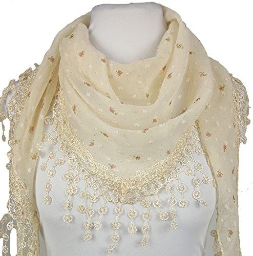 GFM -  Sciarpa  - Floreale - Donna z Seconds Style 3 - White (White Pattern Sciarpa)