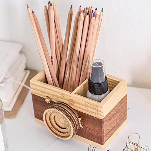 Obling Wood Handmade Pencil Holder Creative Crafts Wooden Pen Container Brush Pot Office Decoration (A)
