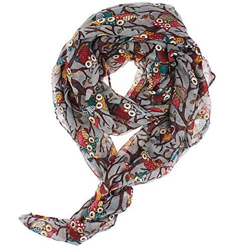 Cowl Neck Sheer (SZTARA Vivid Owl Sheer Silk Chiffon weiche Verpackungs-Schal Lange Schal für Frauen-Mädchen-Dame)