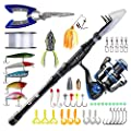Runcl Telescopic Fishing Rod and Reel Combos, Spinning Rod and Reel Combo, Carbon Fiber Fishing Pole with Spinning Reel Lures Lines Hooks for Freshwater Saltwater Boat Fishing from Runcl