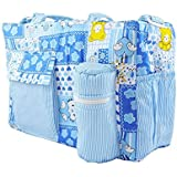 Kidzvilla New Born Baby Multipurpose Mother Bag With Holder Diaper Changing Multi Compartment For Baby Care And Maternity Handbag Messenger Bag Dipper Nappy Mama Shoulder Bag Diaper Storage Travelling Care Designer Multipurpose Mother Care Bag For Mama (Blue)