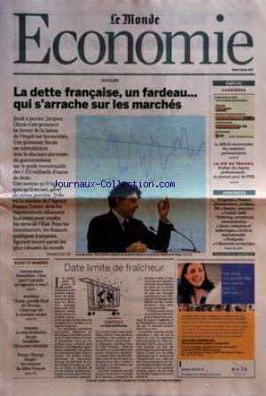 MONDE ECONOMIE (LE) [No 19271] du 09/01/2007 - DOSSIER - LA DETTE FRANCAISE, UN FARDEAU+û QUI S+¡ARRACHE SUR LES MARCHES EMPLOI - CARRIERES - LA DIFFICILE RECONVERSION DES ASSISTANTS PARLEMENTAIRES LA VIE AU TRAVAIL - EVALUER LES RISQUES PROFESSIONNELS, UN PENSUM POUR LES PME - ANNONCES - DIRIGEANTS - FINANCE, ADMINISTRATION, JURIDIQUE, RH - BANQUE, ASSURANCE - CONSEIL, AUDIT - MARKETING, COMMERCIAL, COMMUNICATION - SANTE - INDUSTRIES ET TECHNOLOGIES - CARRIERES INTERNAT par Collectif