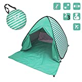 YBK Tech New Stripe Style Automatic Pop Up Beach Tent UV Protection Instant