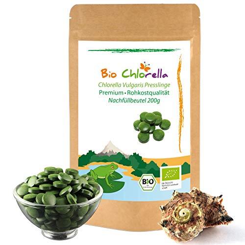 Bio Chlorella Tabletten 200g - Jetzt Laborgeprüft - 500 natürliche Chlorella Vulgaris Presslinge für Detox-Kur, ohne Zusätze, Bio Algen In Rohkostqualität -2 Monatspackung