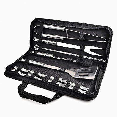 VADOOLL Grill Besteck BBQ Grillen Bestecken, Barbecue Werkzeuge 16 Set Koffer aus Edelstahl mit wärmeisolierende Griff Ideal für Outdoor Garten Party