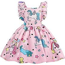 AmzBarley Vestido de Unicornio para Niñas Vestidos de Princesa para Niños Vestidos de Fiesta para Arriba