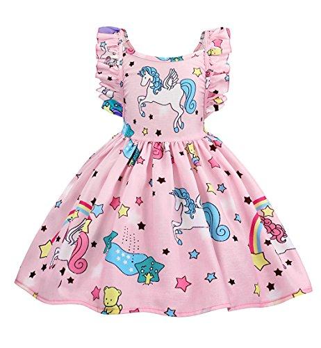 AmzBarley Vestido de Unicornio para niñas Vestidos de Princesa para niños Vestidos de Fiesta para Arriba 5-6 Años