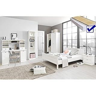 Jugendzimmer Landström 164 Weiß 7 Teilig Bett Komplett 140x200 Schreibtisch  Bücherregal Schrank Nachttisch Rost Matratze