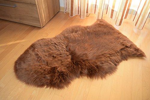 Schaffell Lammfell Langhaar Naturfell Teppich Läufer Dekofell (Camel, 100 - 110cm)