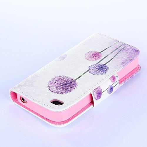 Beiuns Étui en Simili cuir pour Apple iPhone 4 4G 4S Housse Coque - N112 L'hirondelles s'envole (Be free) R141 Violet Pissenlit