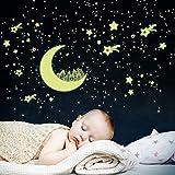 Leuchtaufkleber Set, Mond und 443 Sterne, Leuchtpunkte für Sternenhimmel, Fluoreszierend und im Dunkeln Leuchtend, Schlafzimmer Kinderzimmer Babyzimmer Wandtattoo für Wandsticker Leuchtaufkleber