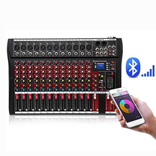 Liergou-Musical Rote Farbe 12-Kanal Mixer Stage Performance Karaoke Mit USB Bluetooth Reverb Effect Monitor Professioneller 12-Kanal Tuner Unterstützt USB/SD Karte (Farbe : Rot, Größe : 516X340X40mm)