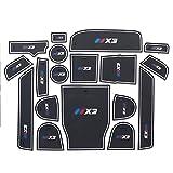 RUIYA Rutschfest Auto Innentür-Schalen-Matten Arm Box Aufbewahrungsmatte Pad für 2018 BMWX3 G01, Anti-Staub-, Tür-Slot-Pad, Cup Mat, Automotive Dekoration mit LOGO