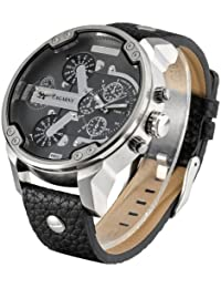 Cagarny 6820Fashionable Multifunctional Korean Style cuarzo Business Sport Wrist Reloj con sintética Band & GMT Time & Pedometer & Calendar & Luminous pantalla para hombre (Black)