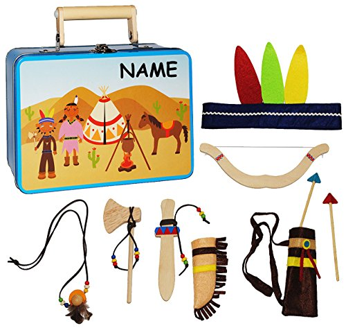 10 TLG. Set: Indianerkoffer - Spielset  Indianer mit Zubehör  - incl. Namen - aus Holz - Kostüm / Kopfschmuck & Deko für Kinder - Tomahawk / Pfeil Federn - Indianer Kostüm Namen