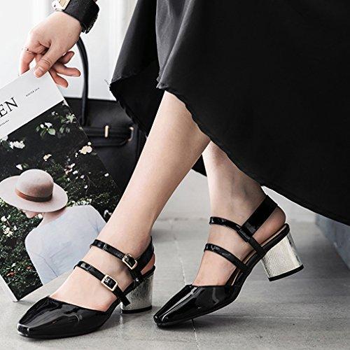 Oaleen Escarpins Vernis Femme Sexy Talon Moyen Argenté Lanières Chaussures Eté Soirée Noir classique