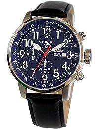 No limit Nautec hombre-reloj analógico de cuarzo cuero Air Traveller AIRTR-QZ-LTST-BL