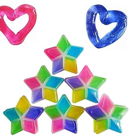 Magic Crystal Soft Slime, Morbuy la boue de cristal multicolore enfants jouets faits à la main DIY pépinière ciment en caoutchouc élastique respectueux de l'environnement. (3PCS)