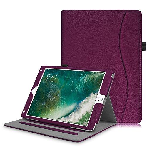 2018 2017 / iPad Air 2 / iPad Air Hülle - Multi-Winkel Betrachtung Folio Stand Schutzhülle Case Cover mit Dokumentschlitze, Auto Wake / Sleep für Apple iPad 9,7'' 2018 / 2017, iPad Air 1 / 2, Lila (Ipad Air-tastatur, Mit Lautsprecher)