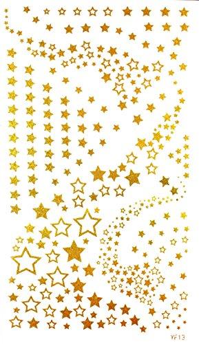 """GGSELL GGSELL dimension de produit toxique imperméable et non 6,69 """""""" x3.74 """""""" (17 * 9.5cm) de nombreuses petites étoiles or or tatouages temporaires"""