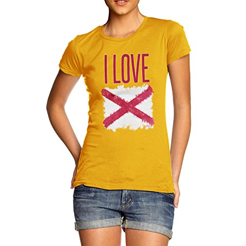 Damen I Love Northern Ireland St Patrick's Saltire T-Shirt Gelb