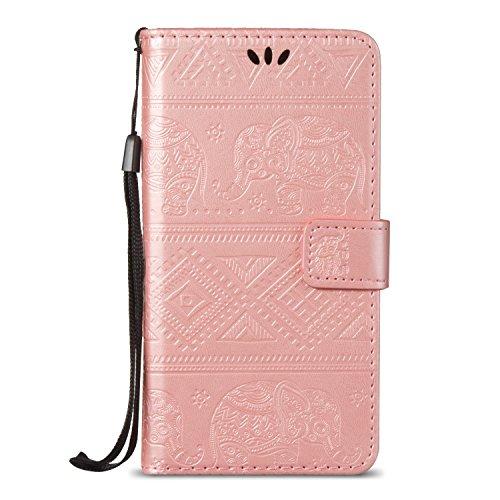 Für Huawei P9 Lite Premium Leder Schutzhülle, weiche PU / TPU geprägte Textur Horizontale Flip Stand Case Cover mit Lanyard & Card Cash Holder ( Color : Blue ) Pink