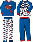 Kinderbutt Schlafanzug 2er-Pack mit Druckmotiv Interlock-Jersey blau/rot/weiß Größe 122/128