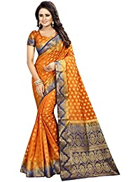 SATYAM WEAVES WOMEN'S ETHNIC WEAR JARI BORDERED KANJIVARAM COTTON SILK SAREE. (MOUNTAIN)
