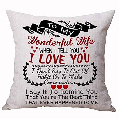 xiangwangdeli for Husband Nordic Sweet Sayings to My Husband I Wish I Could Turn Back The Clock Love You Longer Cotton Linen Decorative Throw Pillow Case Cushion Cover Square 18 X 18 Inches White Square Clock