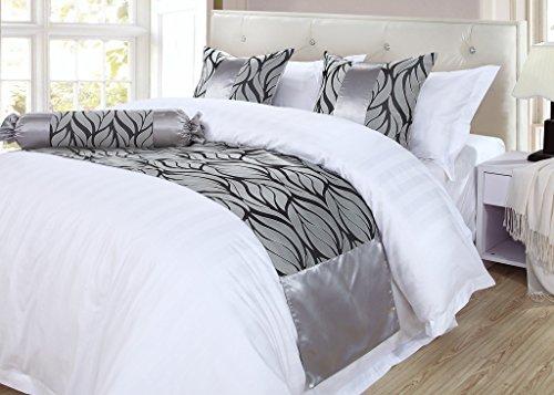 OSVINO Bed Runner Décoratif Chemin de Lit Double Imperméable Elegant Polyester-coton Coureurs de Lit Noble Jacquard Rétro, gris 240X50cm pour 180cm lit
