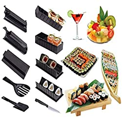 ZHANGQIAN Sushi Maker Kit 10Pcs + 1 Sushi Knife, Completare Casa Sushi Making Kit Facile Chef Set Riso Rotolo Stampo Stampo Rullo Cutter