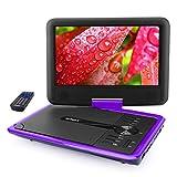 ieGeek Lecteur DVD Portable 11.5' avec Écran Pivotant, Batterie Rechargeable de 5 Heures Jouer, Supporte Carte SD et Chargeur de Voiture Compatible avec MP3 / MP4 / AVI / RMVB / JPEG / TXT – Violet