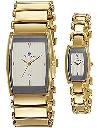 Titan Bandhan Analog White Dial Couple's Watch - NE13772385YM01