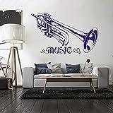 Trompette Musique Sticker Mural Amovible Musique Style Sticker Concert Décoration Design Affiche de Vinyle Trumpt Art Décoration Murale 42 * 68 cm