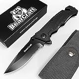 BearCraft Klappmesser schwarz mit **GRATIS eBook** | Scharfes Outdoor Survival Taschenmesser mit Wellenschliff | Kleines Einhand-Messer mit Edelstahlklinge und Aluminiumgehäuse