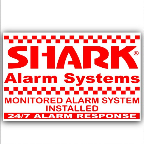 6 x Shark Property Protected Stickers-Red On White-Monitored Alarm System for-24hr Security Response Warning Signs for House,Home,Flat,Business,Unit,Property-External Application Self Adhesive Vinyl by Platinum Place Home-security-sticker