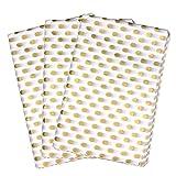 Papel de seda de regalo, 50hojas con lunares blancos y dorados (50x 76cm)